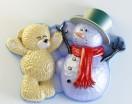 Силиконовая форма Мишка со снеговиком  2D 1шт - Все для мыла ручной работы - интернет-магазин Blesk-ekb.ru, Екатеринбург
