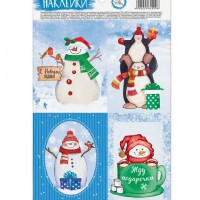 Наклейки Снеговички 4 шт на листе - Все для мыла ручной работы - интернет-магазин Blesk-ekb.ru, Екатеринбург