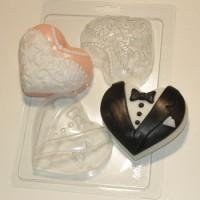 Пластиковая форма Сердца-молодожены 1 шт - Все для мыла ручной работы - интернет-магазин Blesk-ekb.ru, Екатеринбург