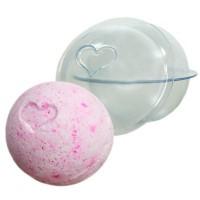 Форма для бомбочек Сфера  с сердечком d = 6 см, 1 шт - Все для мыла ручной работы - интернет-магазин Blesk-ekb.ru, Екатеринбург