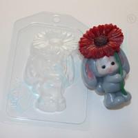 Пластиковая форма Зайка с цветком 1 шт - Все для мыла ручной работы - интернет-магазин Blesk-ekb.ru, Екатеринбург
