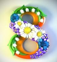 Силиконовая форма 8 марта №2 2D 1 шт - Все для мыла ручной работы - интернет-магазин Blesk-ekb.ru, Екатеринбург