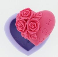 Силиконовая форма Сердце роуз 2D 1шт  - Все для мыла ручной работы - интернет-магазин Blesk-ekb.ru, Екатеринбург