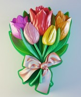 Силиконовая форма Букет тюльпанов 2D - Все для мыла ручной работы - интернет-магазин Blesk-ekb.ru, Екатеринбург