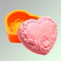 Силиконовая форма Сердце с Розами №123 2D 1шт - Все для мыла ручной работы - интернет-магазин Blesk-ekb.ru, Екатеринбург