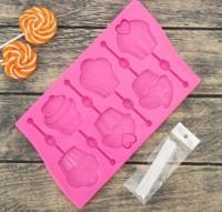 Форма для леденцов Капкейки 6 ячеек - Все для мыла ручной работы - интернет-магазин Blesk-ekb.ru, Екатеринбург