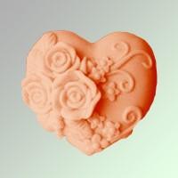Силиконовая форма Сердце с розами  2D 1шт - Все для мыла ручной работы - интернет-магазин Blesk-ekb.ru, Екатеринбург