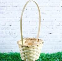 Корзинка плетеная с ручкой бамбук, 1 шт  - Все для мыла ручной работы - интернет-магазин Blesk-ekb.ru, Екатеринбург