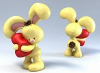 Силиконовая форма  зайка с сердечком 3D 1 шт - Все для мыла ручной работы - интернет-магазин Blesk-ekb.ru, Екатеринбург