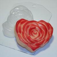 Пластиковая форма Сердце-Роза 1 шт                                                                                                                                                                                                                         - Все для мыла ручной работы - интернет-магазин Blesk-ekb.ru, Екатеринбург