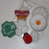 Пластиковая форма На лугу, 4 мини формы на листе - Все для мыла ручной работы - интернет-магазин Blesk-ekb.ru, Екатеринбург
