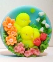 Силиконовая форма Цыплята в цветах 2D 1 шт - Все для мыла ручной работы - интернет-магазин Blesk-ekb.ru, Екатеринбург