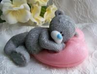 Силиконовая форма Мишка на сердечке 3D 1 шт - Все для мыла ручной работы - интернет-магазин Blesk-ekb.ru, Екатеринбург