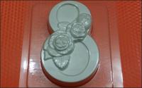 Пластиковая форма 8 Розы,  1 шт - Все для мыла ручной работы - интернет-магазин Blesk-ekb.ru, Екатеринбург