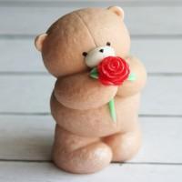 Силиконовая форма Мишка Плюх с розой 1 шт - Все для мыла ручной работы - интернет-магазин Blesk-ekb.ru, Екатеринбург