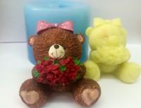 Силиконовая форма Мишутка с розами 3D 1шт  - Все для мыла ручной работы - интернет-магазин Blesk-ekb.ru, Екатеринбург