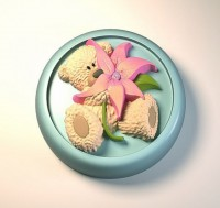 Силиконовая форма Мишка с цветком 2D 1шт - Все для мыла ручной работы - интернет-магазин Blesk-ekb.ru, Екатеринбург